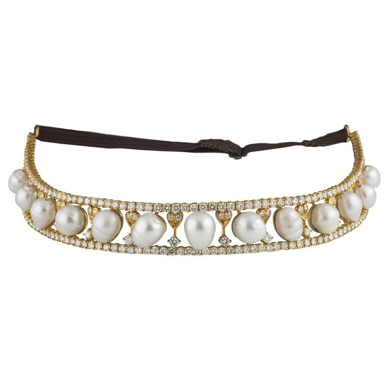 Diamond Pearl Gold Tiara