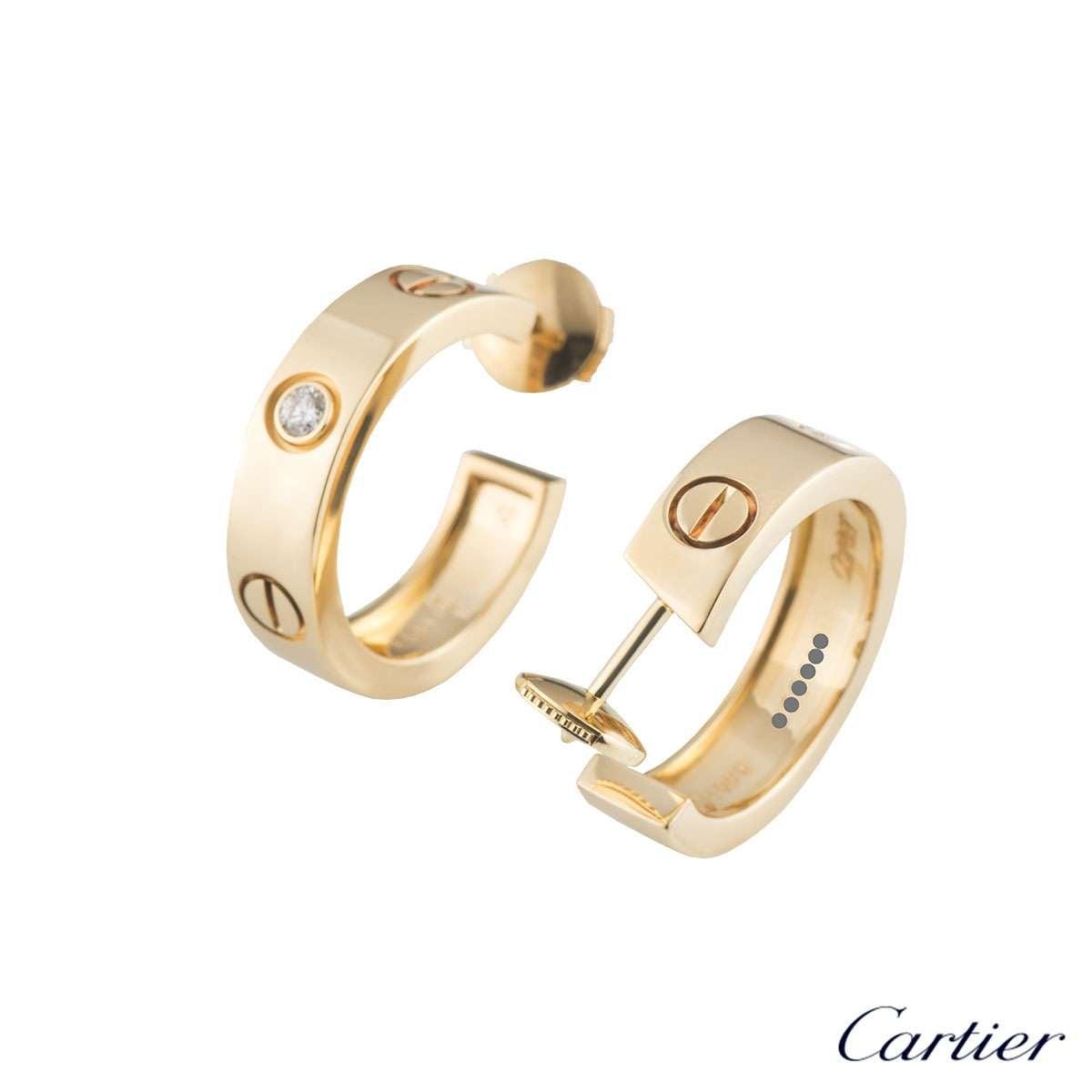 105cf290e67 Cartier Yellow Gold Diamond Love Earrings at 1stdibs
