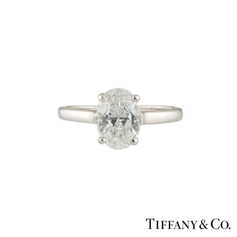 GIA Certified 1.60 Carat Tiffany & Co. Platinum Oval Cut Diamond Engagement Ring 2