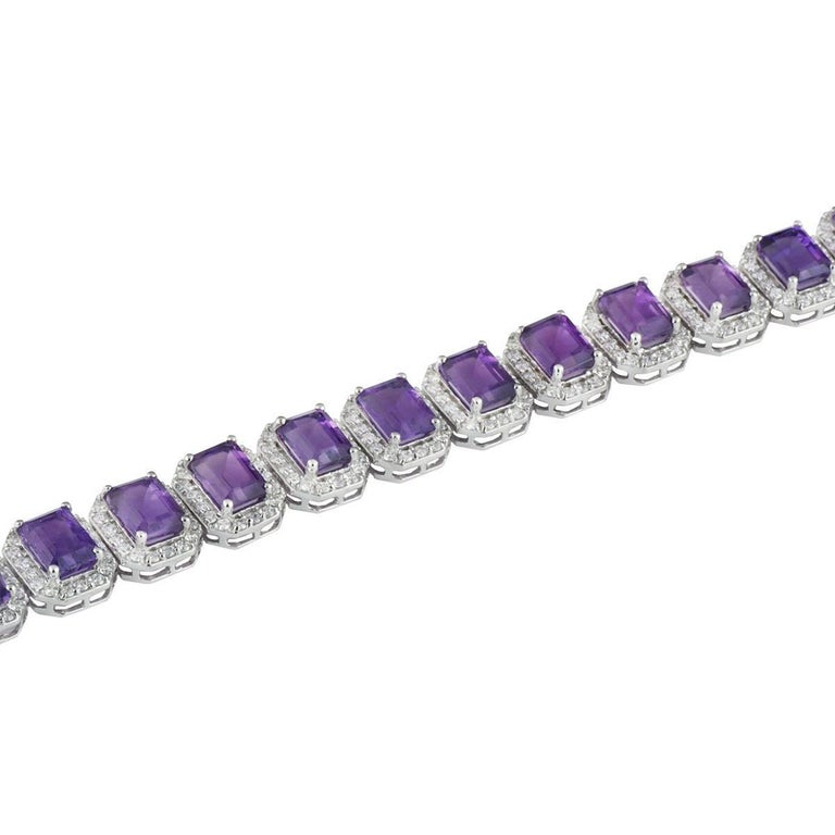 Diamond and Amethyst Bracelet 20.38 Carat In As New Condition For Sale In London, GB