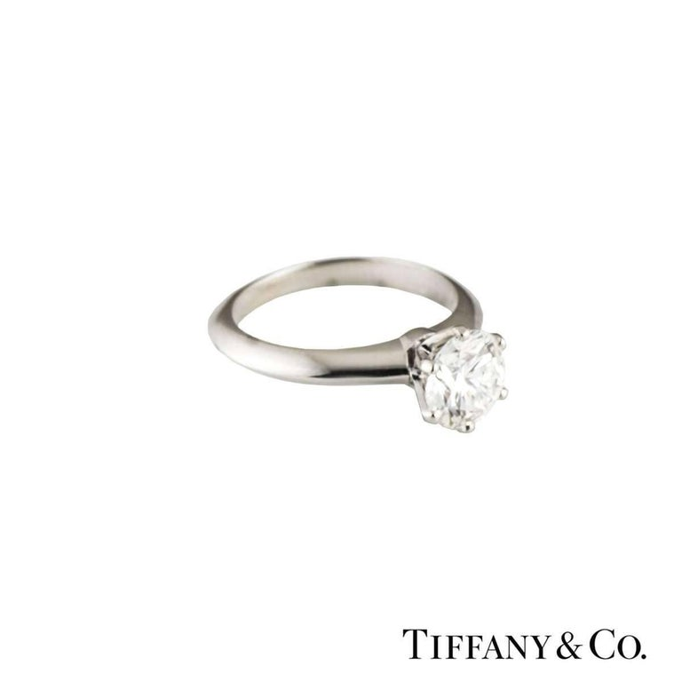Tiffany & Co. Round Diamond Platinum Ring 1.05 Carat GIA Certified 2