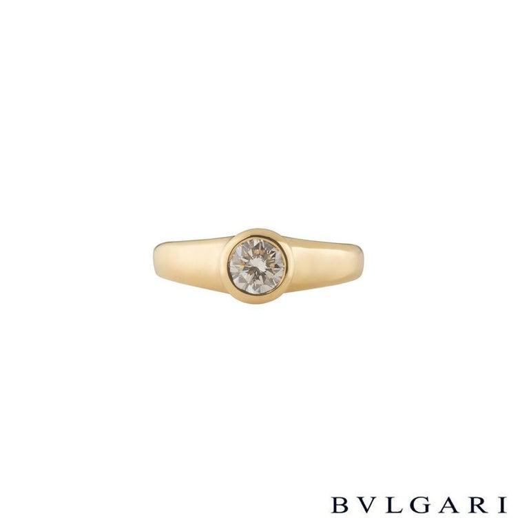 Round Cut Bulgari Round Diamond Engagement Ring 0.49 Carat For Sale
