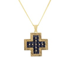 Yellow Gold and Sapphire Cross Pendant