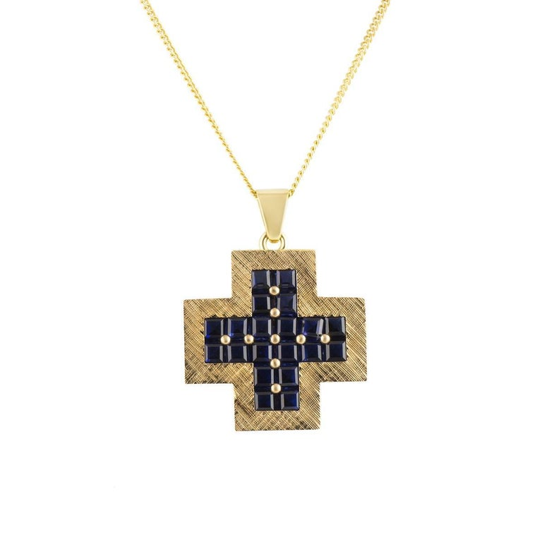 yellow gold and sapphire cross pendant for sale at 1stdibs