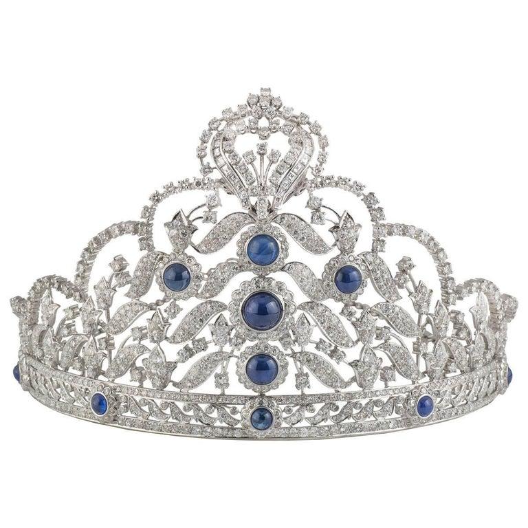 Stunning Diamond And Sapphire Tiara At 1stdibs