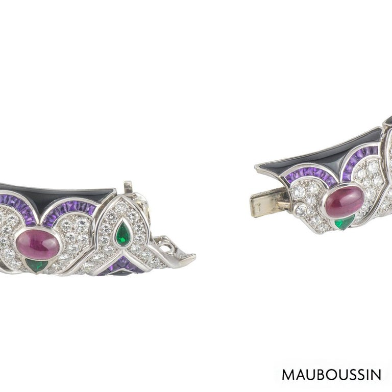 Mauboussin Diamond and Multi-Gemstone Necklace In Excellent Condition For Sale In London, GB