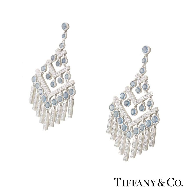 A Beautiful Pair Of Platinum Diamond And Aquamarine Tiffany Co Chevron Earrings From