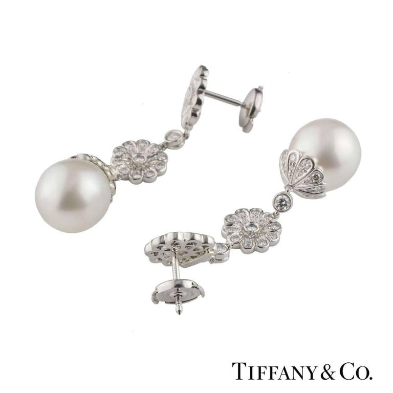 Tiffany & Co. Platinum Diamond and Pearl Earrings In Excellent Condition For Sale In London, GB