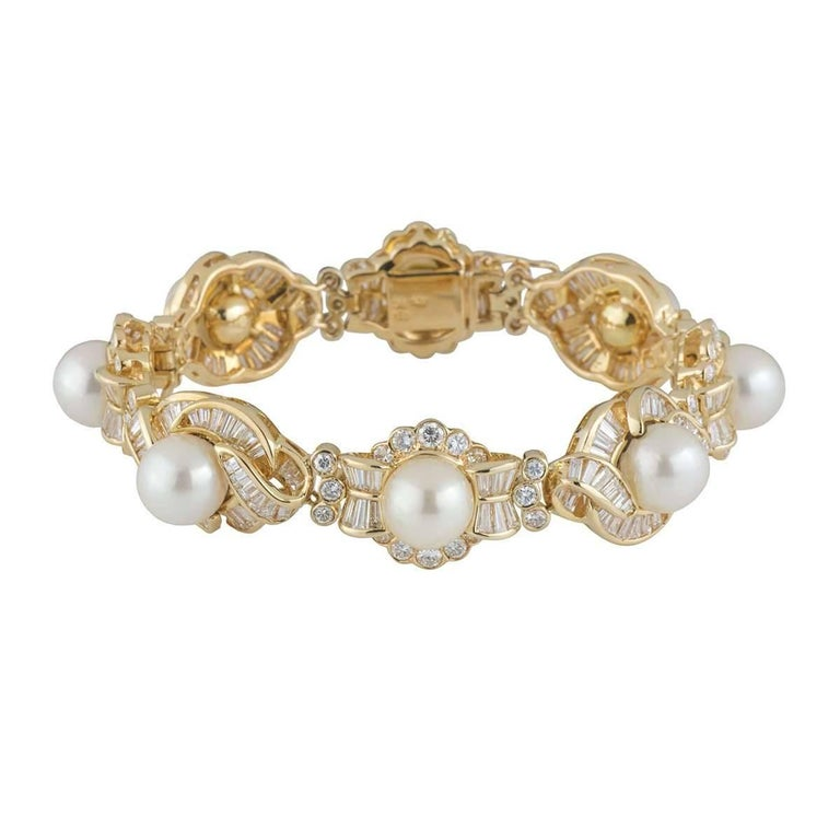 Diamond and Pearl Bracelet 11.80 carats