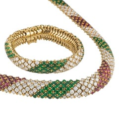 Diamond, Emerald and Ruby Multi-Gem Jewellery Suite