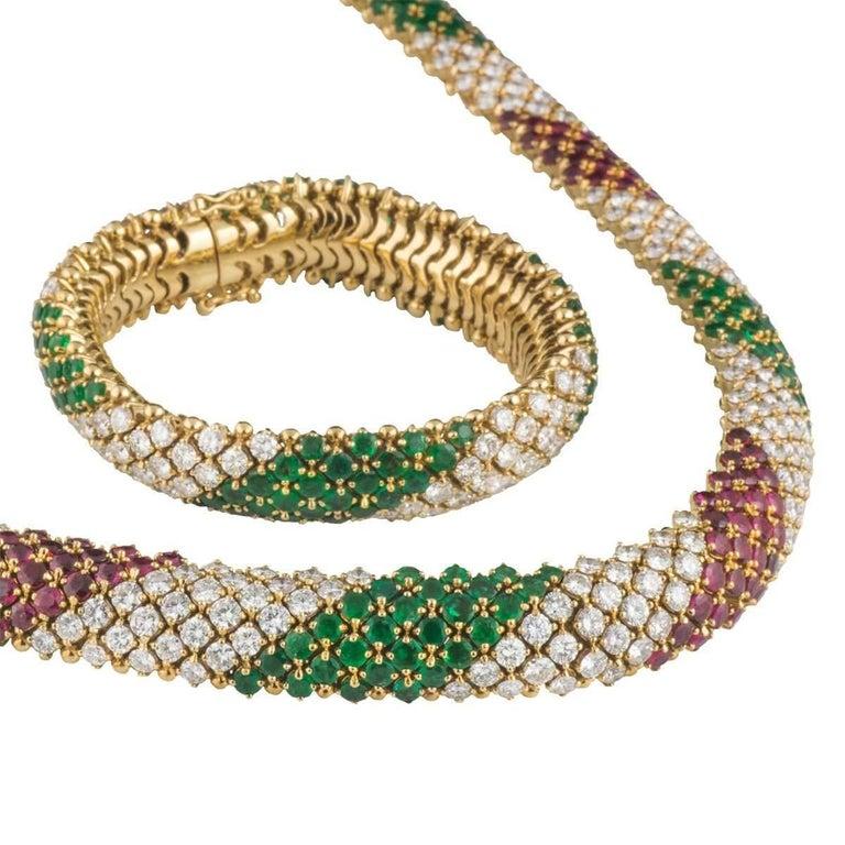 Diamond, Emerald and Ruby Multi-Gem Jewellery Suite