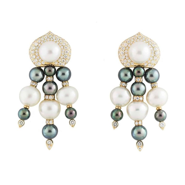 Diamond and Pearl Drop Earrings 3.96 carats
