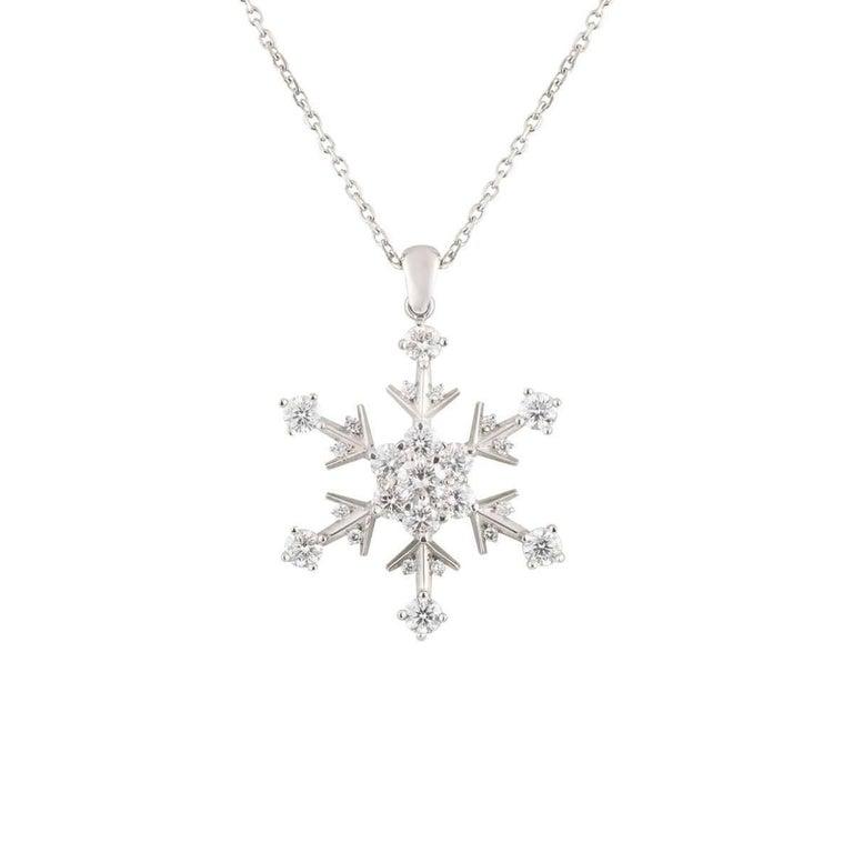 Snowflake Diamond Platinum Pendant Necklace