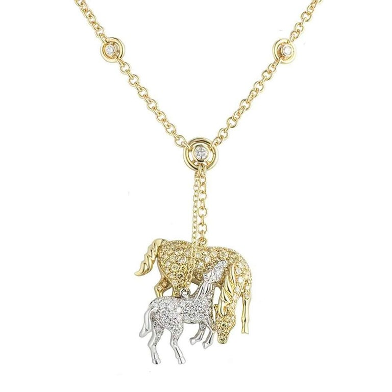 Yellow and white diamond horse pendant for sale at 1stdibs yellow and white diamond horse pendant for sale aloadofball Choice Image