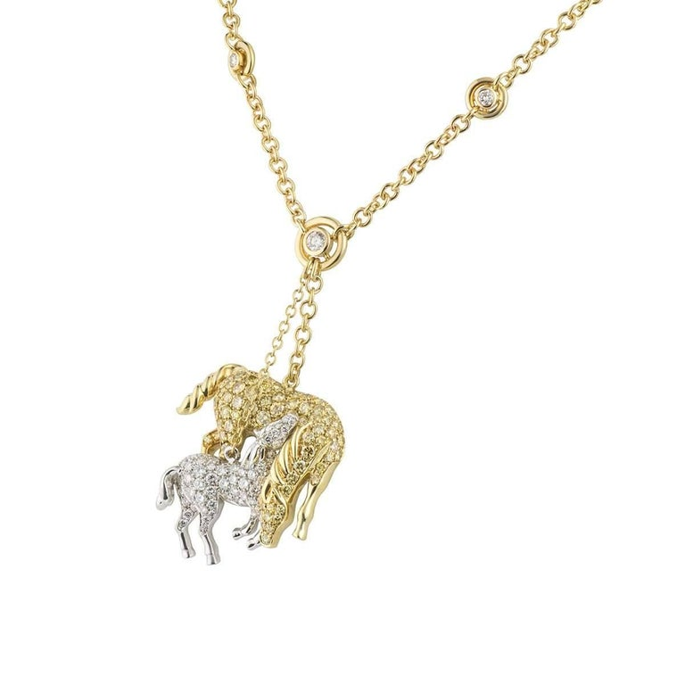 Yellow and white diamond horse pendant for sale at 1stdibs yellow and white diamond horse pendant in excellent condition for sale in london gb aloadofball Choice Image