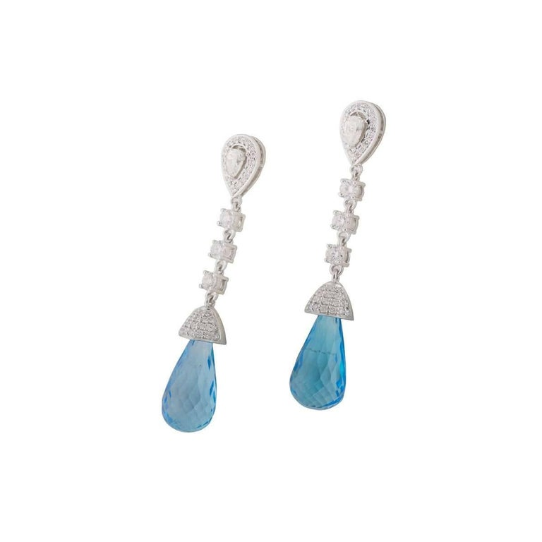 Diamond and Topaz Drop Earrings In New Condition For Sale In London, GB