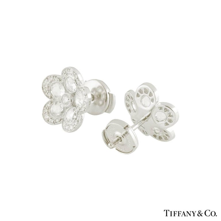 Tiffany Co Platinum Diamond Garden Flower Earrings In Excellent Condition For London