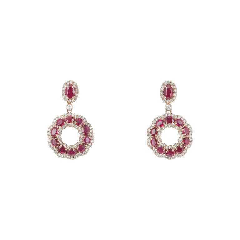 Rose Gold Diamond and Ruby Earrings For Sale