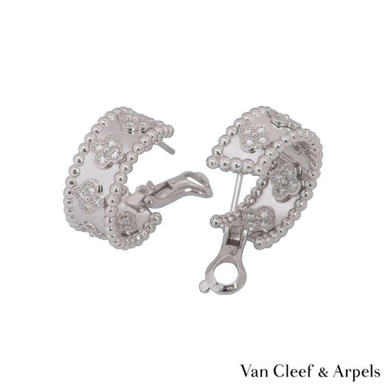 Van Cleef & Arpels Diamond Perlée Clovers Earrings In Excellent Condition For Sale In London, GB