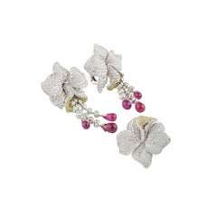 Cartier Caresse D Orchidees Diamond and Ruby Platinum Jewellery Suite