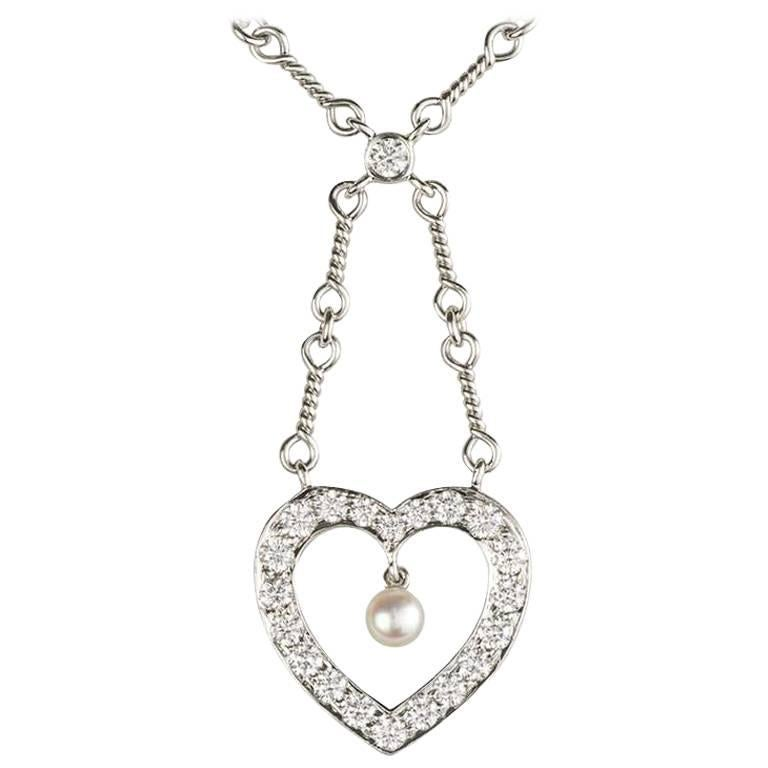 de72661fc9179 Tiffany and Co. Diamond and Pearl Heart Necklace at 1stdibs