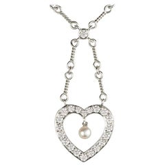 Tiffany & Co. Diamond and Pearl Heart Necklace