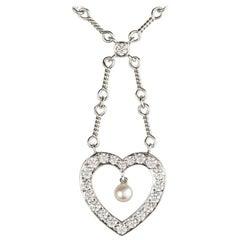 Tiffany & Co. Diamond and Pearl Heart Necklace