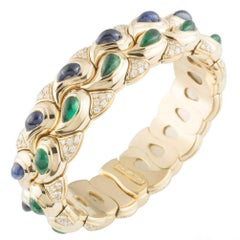 Chopard Multi-Gem Diamond Emerald and Sapphire Casmir Bangle