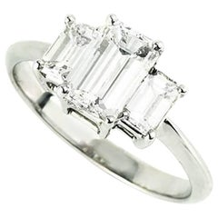 Certified Emerald Cut Diamond Three-Stone Engagement Ring 1.15 Carat I/J VS2