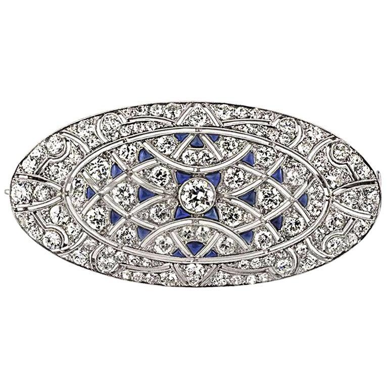Antique Edwardian Belle Époque Sapphire Diamond Platinum Pendant Brooch
