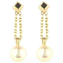 Cartier Yellow Gold Pearl Drop Earrings