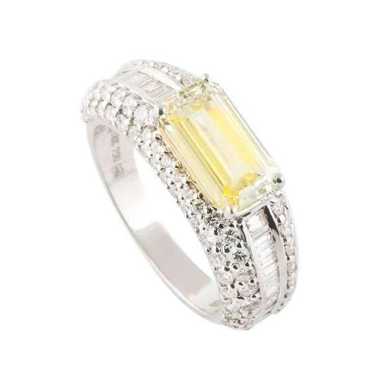 GIA Certified Fancy Intense Emerald Cut Yellow Diamond Ring 2.01 Carat