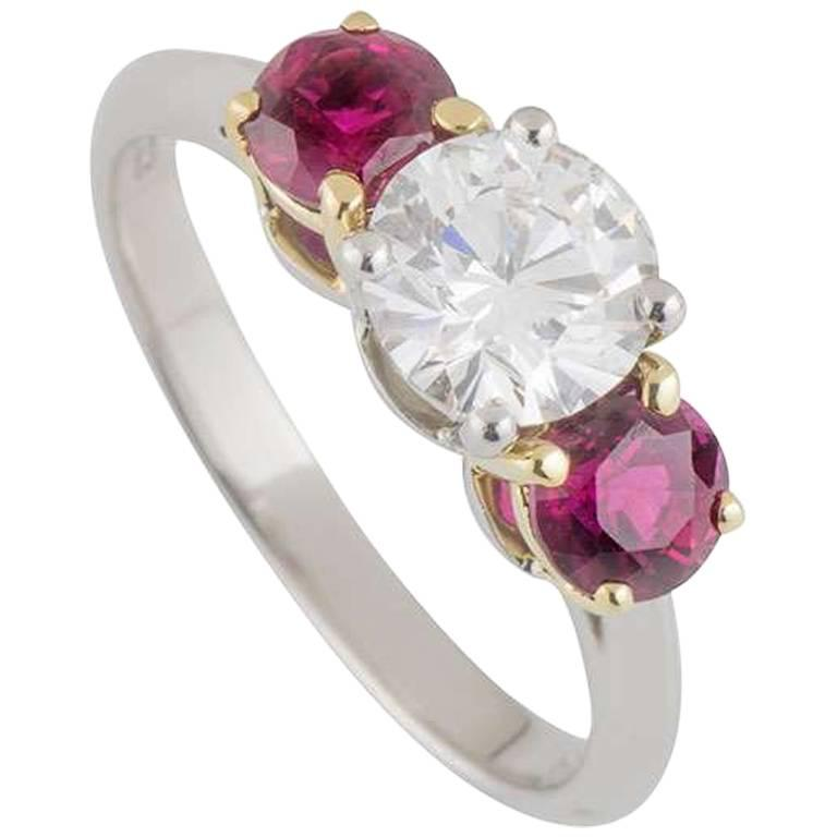 Ruby Engagement Rings For Sale: Tiffany And Co. Three-Stone Diamond And Ruby Engagement