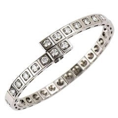 Cartier Tectonique Diamond White Gold Bracelet 3.15 Carat