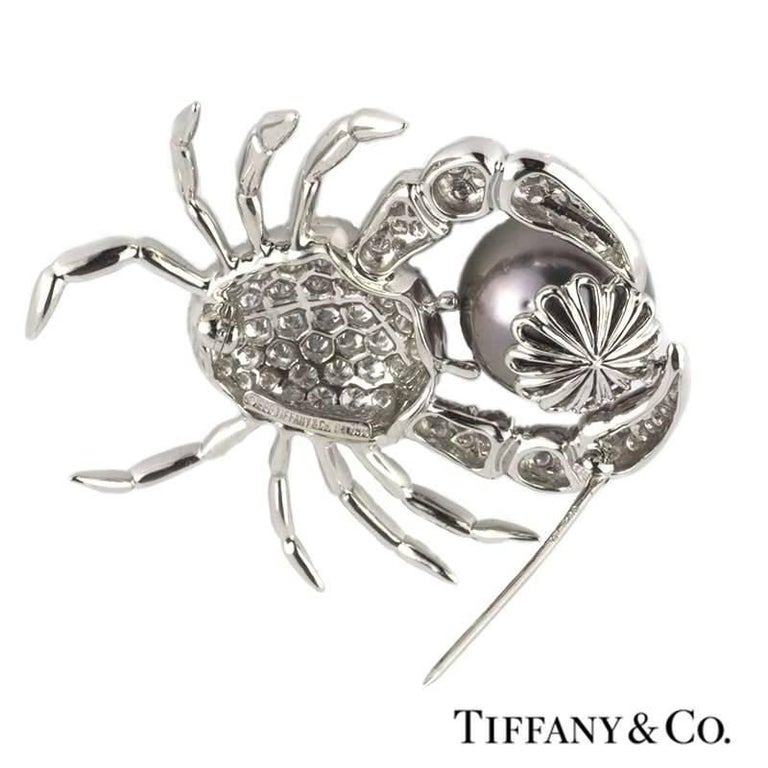 Tiffany & Co. Crab Brooch in Diamond and Pearl 2.70 Carat In Excellent Condition In London, GB