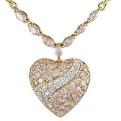 Boodles Pink and White Diamond Heart Pendant 2.64 Carat