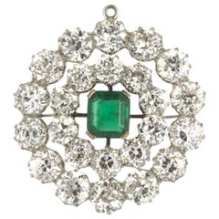20th Century Columbian Emerald and Diamond Brooch/Pendant 12.40 Carat Diamonds