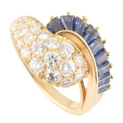 Oscar Heyman Diamond and Blue Sapphire Ring 1.19 Carat