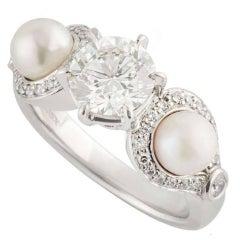 Certified Rosendorff Diamond and Pearl Ring 1.20 Carat