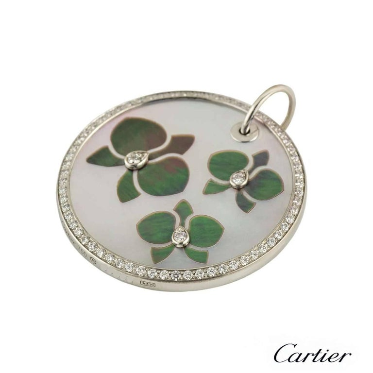 Cartier Caresse D'Orchidees Diamond and Mother-of-Pearl Pendant In Excellent Condition For Sale In London, GB