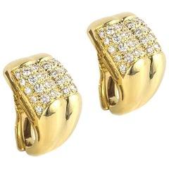 Bulgari Gold Diamond Clip-On Earrings 3.00 Carat