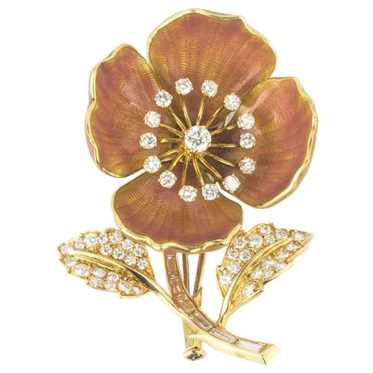 Vintage Boucheron Eglantine Diamond and Enamel Brooch For Sale