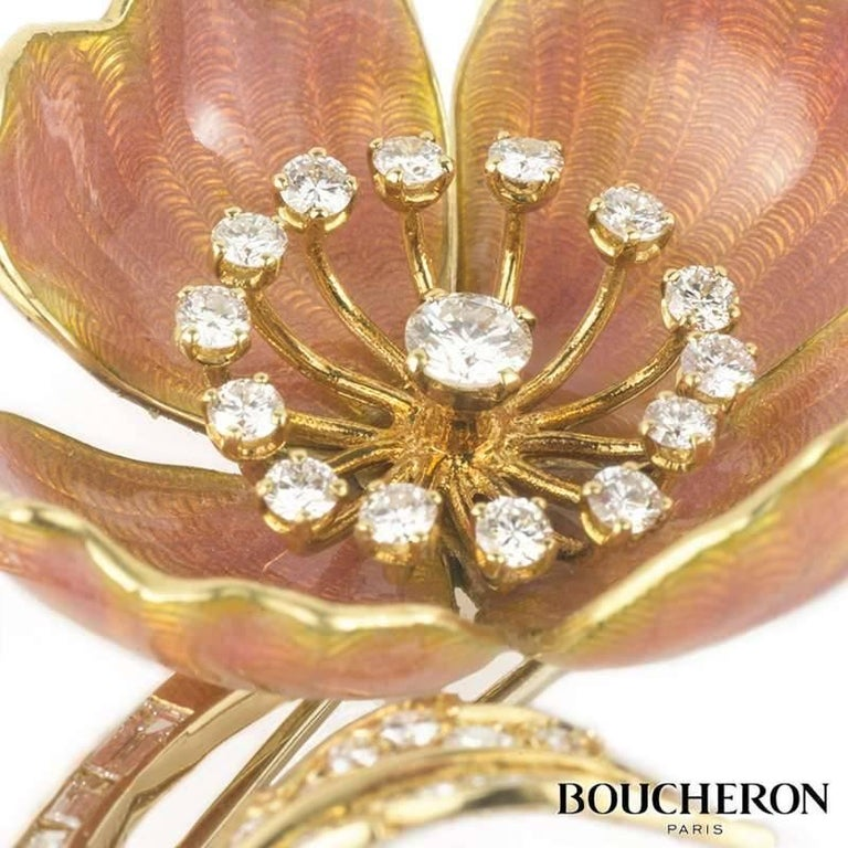 Vintage Boucheron Eglantine Diamond and Enamel Brooch In Excellent Condition For Sale In London, GB
