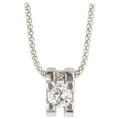 Diamond Solitaire Pendant and Gold Chain 0.56 Carat