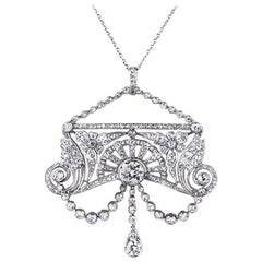 1910s Antique Belle Époque Diamond Platinum Pendant 4.50 Carat