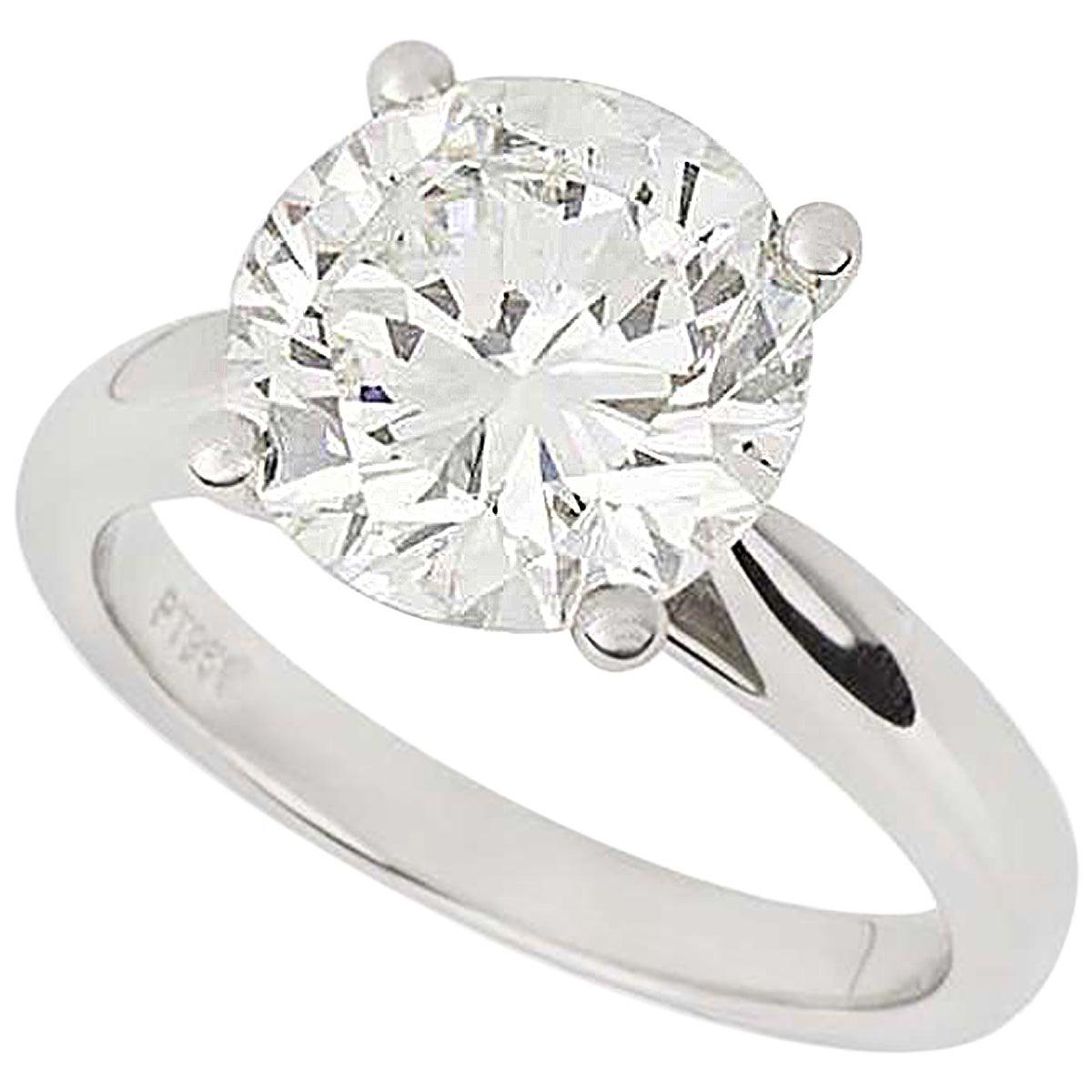GIA Certified Diamond Platinum Engagement Ring 3.93 Carat