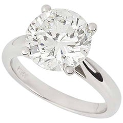 GIA Certified Diamond Platinum Engagement Ring 3.93 Carat