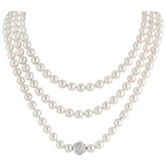 Chanel Multi-Strand Pearl Diamond Necklace