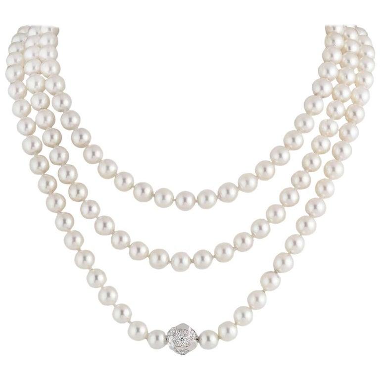 Chanel Multi-Strand Pearl Diamond Necklace