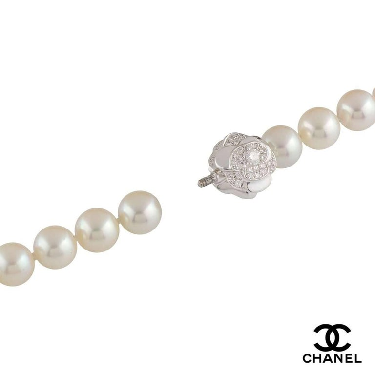 Chanel Multi-Strand Pearl Diamond Necklace In Excellent Condition In London, GB